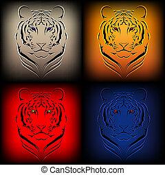 vektor, tiger, satz, verschieden, col