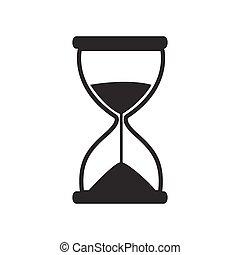 vektor, timglas, ikon