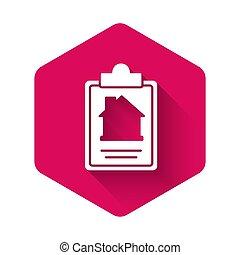 vektor, tjeneste, shadow., dannelse, dokument, sekskant, længe, hvid, isoleret, button., ansøgning, lyserød, composition., oprettelse, form, ikon hus, kontrakt