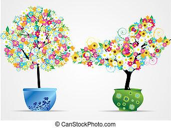 vektor, topf, blume, illustra, bäume