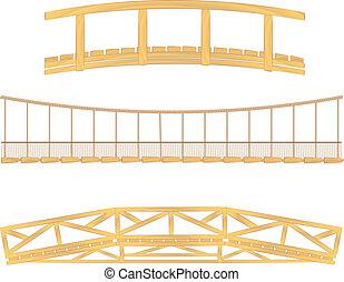 vektor, trä, hängande, bro