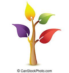 vektor, träd, färgrik, ikon