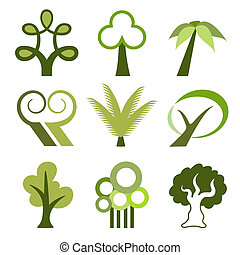 vektor, träd, ikonen