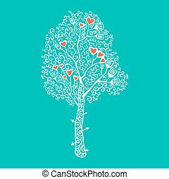 vektor, träd., illustration