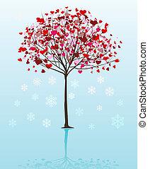 vektor, träd, jul, bakgrund