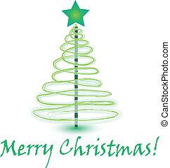 vektor, träd, julkort