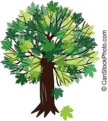 vektor, träd, lönn, illustration