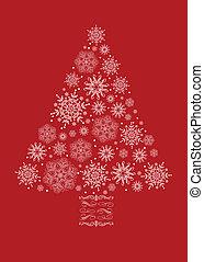 vektor, träd, snöflinga, jul