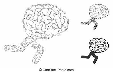 vektor, tråd, triangel, ram, hjärna, spring, maska, modell, mosaik, ikon