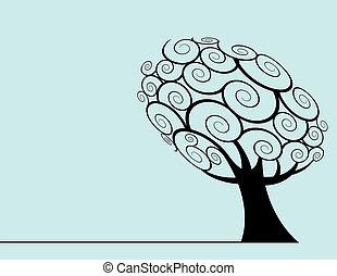 vektor, træ, baggrund