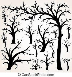 vektor, træ, cartoon, samling