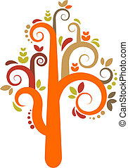 vektor, træ, farverig
