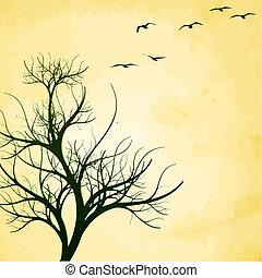 vektor, træ, fugle