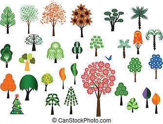 vektor, træer, samling