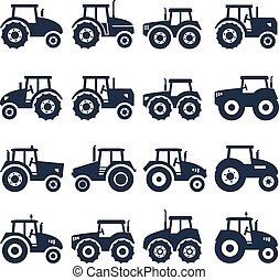 vektor, traktor, ikonok