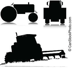 vektor, traktor, illustration