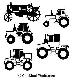 vektor, traktor, satz, weiß, hintergrund