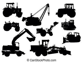 vektor, -, traktor, silhuetter
