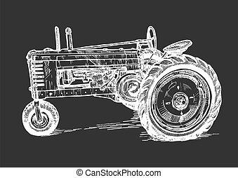 vektor, traktor, stilizált, metszés, rajz