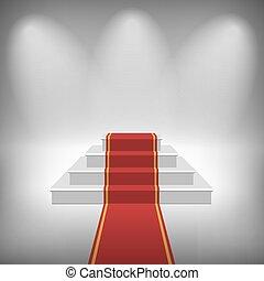 vektor, trappa, med, röd matta