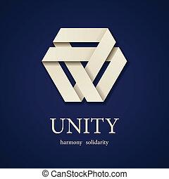 vektor, trojúhelník, jednota, noviny, design, šablona, ikona