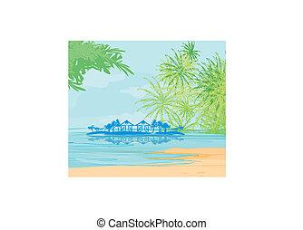 vektor, tropical tengerpart, táj
