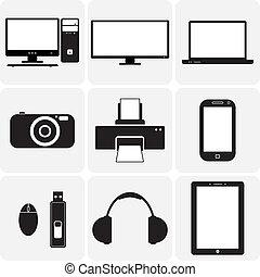 vektor, tv, gadgets., &, ezeket, grafikus, icons(symbols), jegyzetfüzet, laptop, szerkentyű, simplistic, más, fekete, digitális, ábra, fényképezőgép, fehér, elektronikus