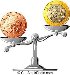 vektor, tysk valuta, kontra, grek, euro