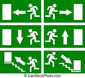 vektor, udgang, nødsituation, tegn