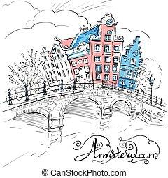 vektor, udsigter, i, amsterdam, canal, og, bro