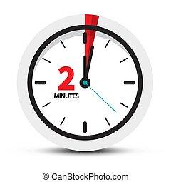 vektor, uhr, zwei, symbol., 2, icon., minuten, minute