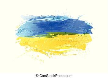 vektor, ukraina, måla, färgrik, grunge, flagga, texture., smears, gjord, splashes.