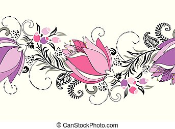 vektor, umrandungen, tulpenblüte, seamless, phantasie, blume