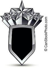 vektor, underbar, glatt, formge grundämne, med, lyxvara, 3, silver stjärna, silverren, begreppsmässig, grafisk, mall, svart, eps, 8, invecklat, shield.
