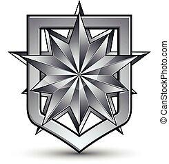vektor, underbar, glatt, formge grundämne, med, lyxvara, 3, silver stjärna, silverren, begreppsmässig, grafisk, mall, fri, eps, 8, invecklat, shield.