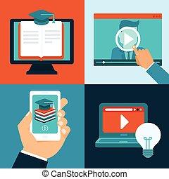 vektor, undervisning, online, begreb