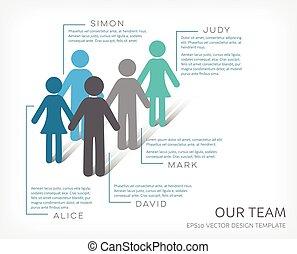 vektor, unser, mannschaft, infographic, ikone