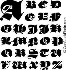 vektor, uppercase táska, állhatatos, gót, levél
