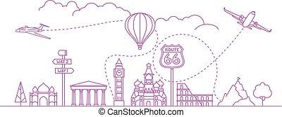 vektor, utazás, fogalom, célállomás