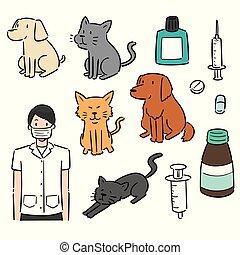vektor, utrustning, sätta, djur, veterinär