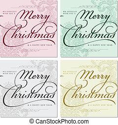 vektor, választékos, karácsony, keret