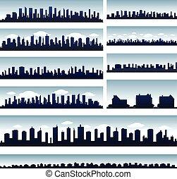 vektor, város, égvonal