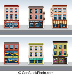 vektor, város, épületek, ikon, állhatatos