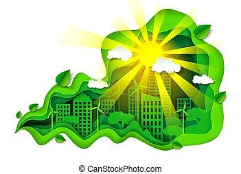 vektor, város, eco, dolgozat, zöld, mód, művészet, ábra