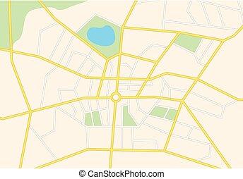 vektor, város utca, térkép