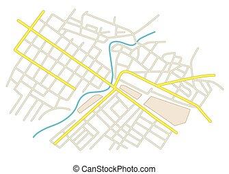 vektor, város utca, -, terv