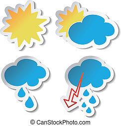 vektor, väder, klistermärken
