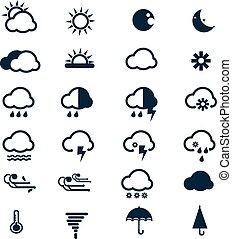 vektor, väder, sätta, ikonen