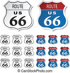 vektor, väg, historisk, klistermärken, 66