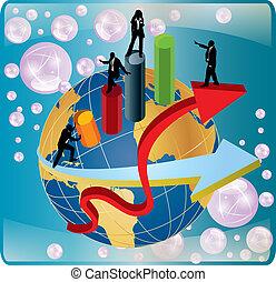 vektor, värld affärsverksamhet, omkring